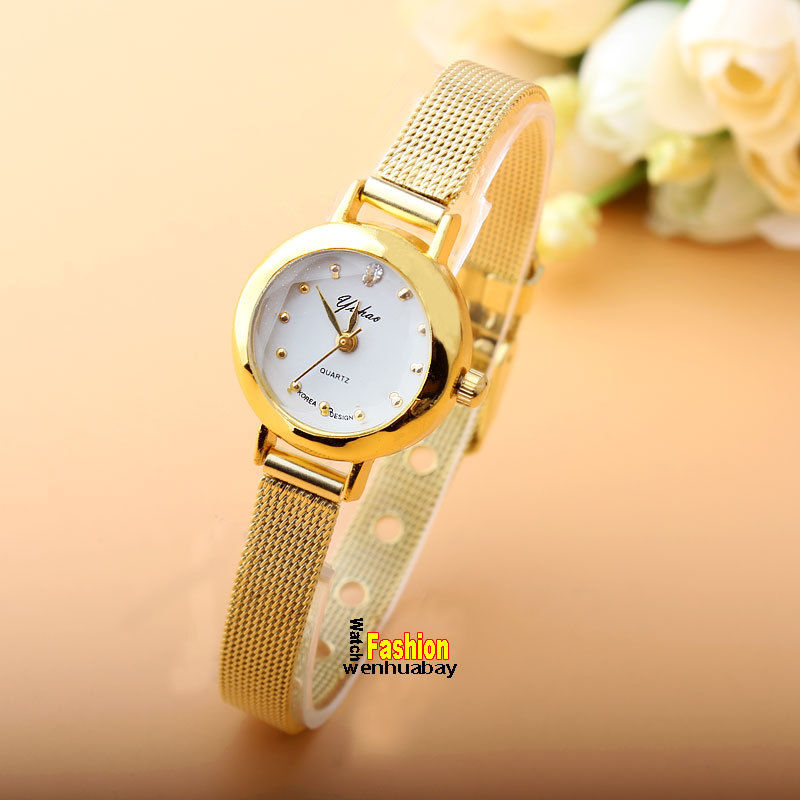 Fashion Golden Watch Stainless Steel Small Crystal Dial Analog Women Ladies Girls Bracelet Quartz Wrist Watches Relogio Feminino