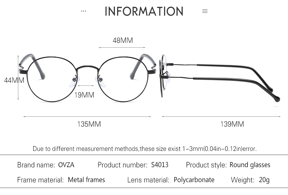 OVZA Men Glasses Frame Metal Round Eyeglasses Frames Women High ...