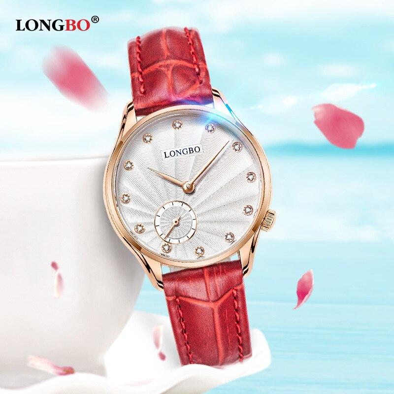 ФОТО LONGBO Simple Lovers Quartz Wristwatch Leather Strap Women Men Casual Watch Waterproof Rhinestone Dial Watch Relogio Feminino