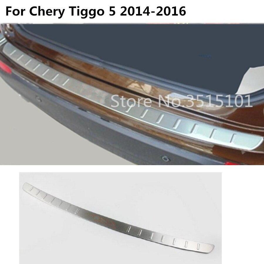 цена на car styling external rear bumper trunk trim cover Stainless Steel plate pedal hoods 1pcs For Chery Tiggo 5 Tiggo5 2014 2015 2016