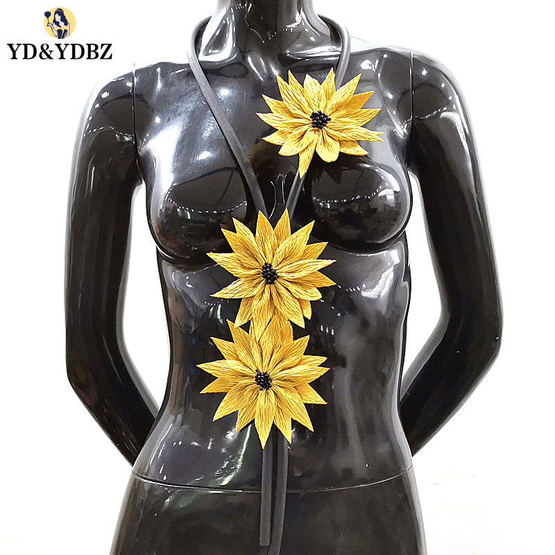 YD&YDBZ 2019 New Yellow Sunflower Pendant Necklaces Women's Long Statement Necklace Fashion Vintage Choker Jewelry Rubber Chains
