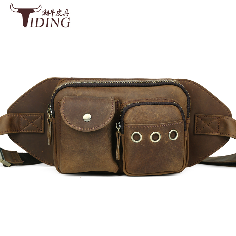 men waist packs genuine leather 2017 new man fashion brand cow leater solid casual vintage traval waist bags male crossbody bags