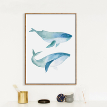 Nordic Minimalist Style Watercolor Whale Canvas Painting Print Poster Picture Mural Restaurant Home Wall Art Decoration