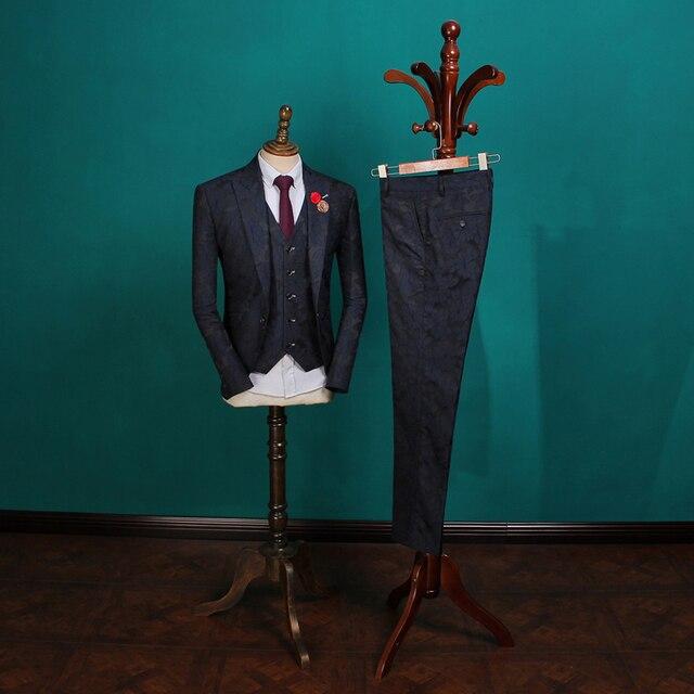 Men's Vintage Suits 2018 Male Fashion Blazers Men Korean Suits for Wedding Mens 3 Piece Blue Suit Jacket Free Shipping TZ048B