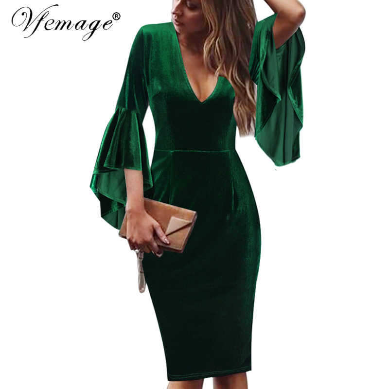 Vfemage Womens Winter Fluwelen Sexy Diepe V-hals Ruche Bell Mouwen Casual Business Cocktail Bodycon Pencil Schede Jurk 1026