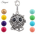10PCS Hollow Silver Color Owl Cage Pendant Harmony Ball Baby Mother Lockets Necklace Jewelry