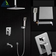 Chrome Brass Three Ways Shower Set Faucet Ceiling Mount Bathroom 8 inch Rainfall Bath Shower Mixer Faucet