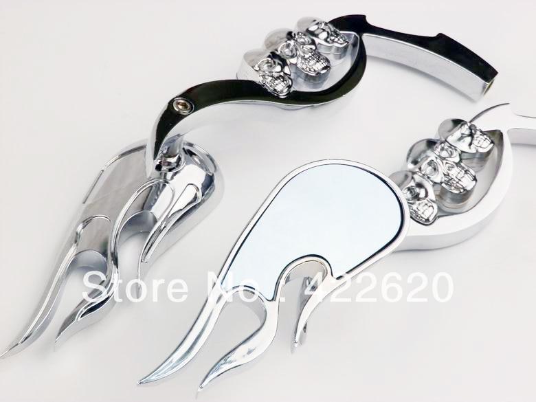 US $27 98 |Chrome 3D Skull Stem Side/Rear View Mirror For Kawasaki VN  Vulcan 900 1700 2000 Custom Classic 750 Cruiser Chopper Chopper-in Side  Mirrors