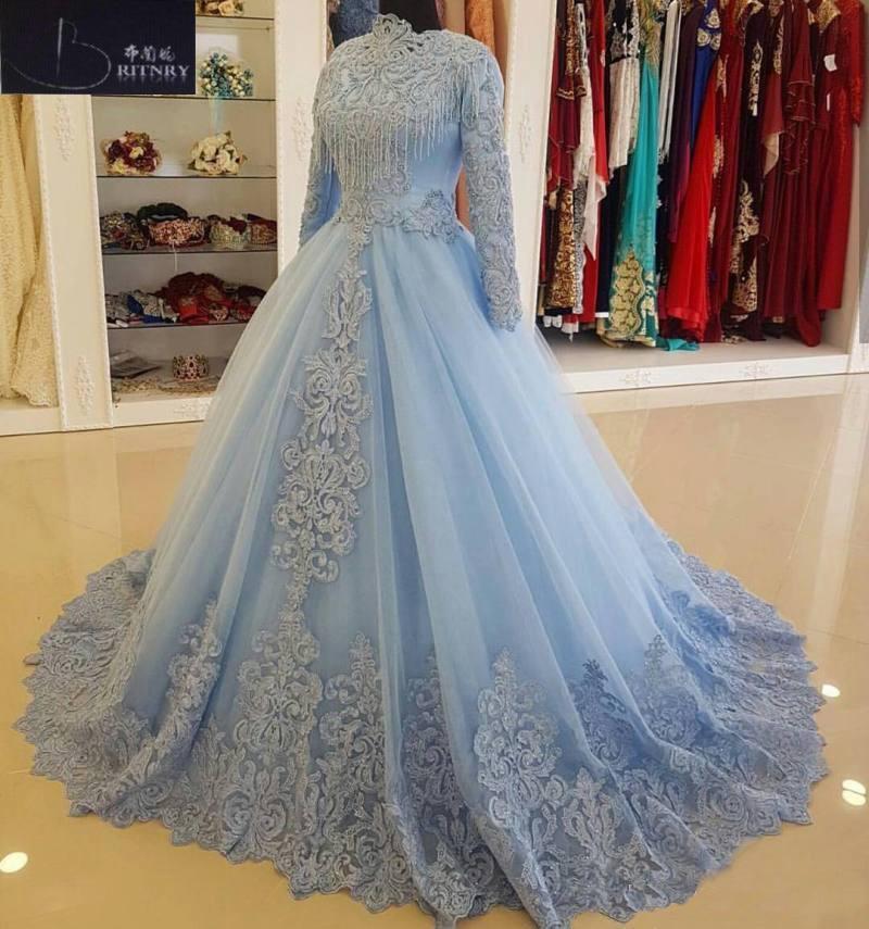 Новое поступление, бальное платье с круглым вырезом и длинными рукавами, кружевное свадебное платье с бисером, винтажное мусульманское пла