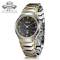 Luxury gold male wristwatches waterproof business men watches tungsten steel quartz calendar man clocks RGENS brand official