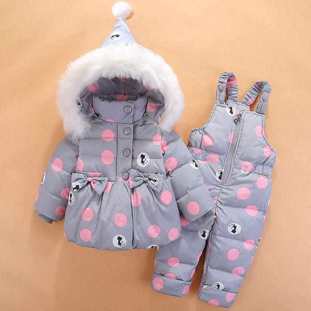 df13df4a9a877 2017 invierno Abrigos de plumas ropa para niños niña snowsuit impermeable  chaqueta con capucha + Pantalones
