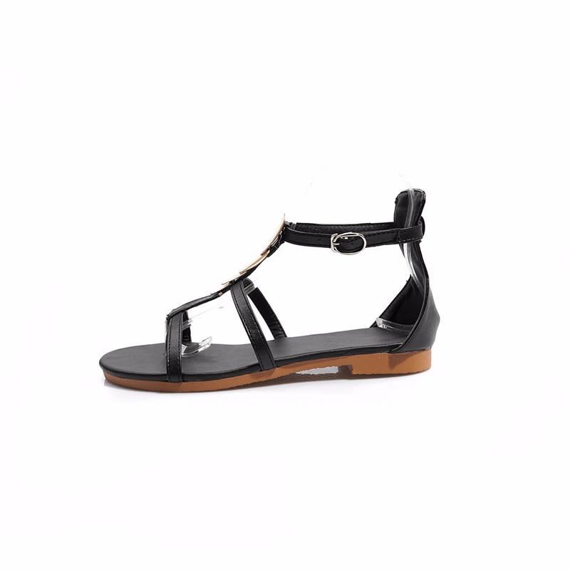 المرأة لينة أسفل صندل مسطح بو الجلود الصيف أحذية النساء عارضة صنادل طراز جلاديتور زائد حجم 43 أحذية الشاطئ الإناث