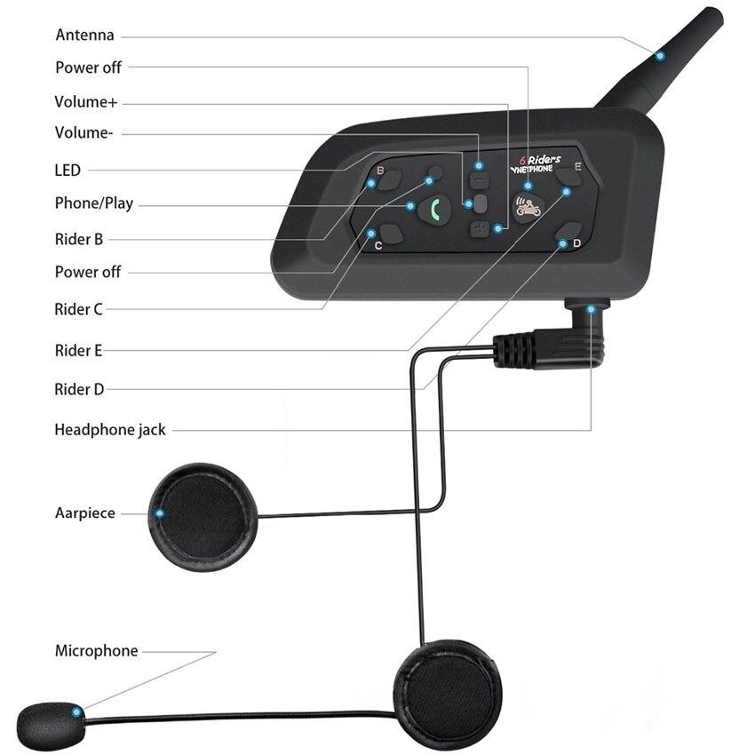 VNETPHONE 1200 м 1 шт. беспроводной Bluetooth мотоциклетный шлем Интерком 6 всадников Переговорная гарнитура поддержка Mp3 Intercomunicador Moto