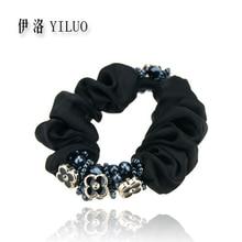 Women headband flower hairband vintage elastic hair bands beads accessories for girls