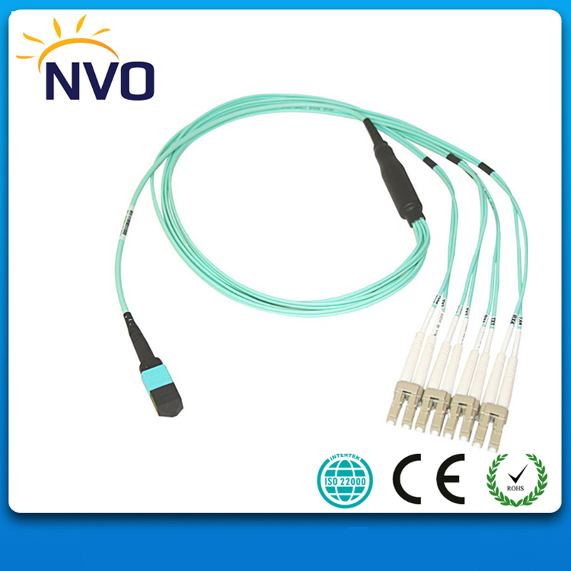 10 Meter MPO(Female)-LC/UPC OM4,12cores,3.0mm Mini Fiber Cable,LSZH Jacket,2.0mm Fan-out LC/UPC Cable for QSFP+SR module