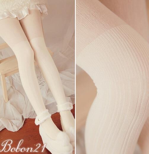 Princess sweet lolita pantyhose BOBON21 winter Vertical stripes Show thin upset fake knee-high over the knee warm tights AC1144