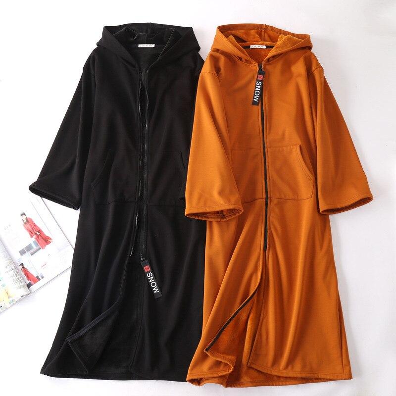 Vestes à capuche femmes robe longue automne hiver grande taille fermeture à glissière velours lâche épais chaud sweat style Européen et Américain