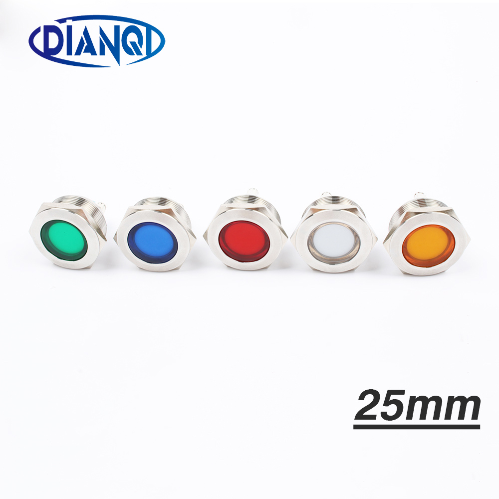 LED Metal Indicator Light 25mm Flat Round Signal Lamp LIGHT 3V 6V 12V 24V 220v Screw Connect Red Yellow Blue White 25ZSD.T.L