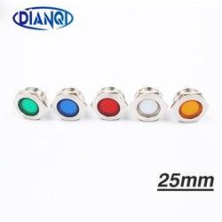 LED Metal Indicator light 25mm flat round Signal lamp LIGHT 3V 6V 12V 24V 220v screw connect red yellow blue white 25ZSD.T.L