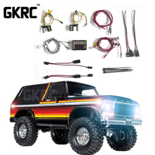 GKRC מוצר חדש LED אור מערכת מול & אחורי מנורת קבוצת עבור 1/10 RC רכב Traxxas TRX4 ברונקו מול בחזרה פנסי