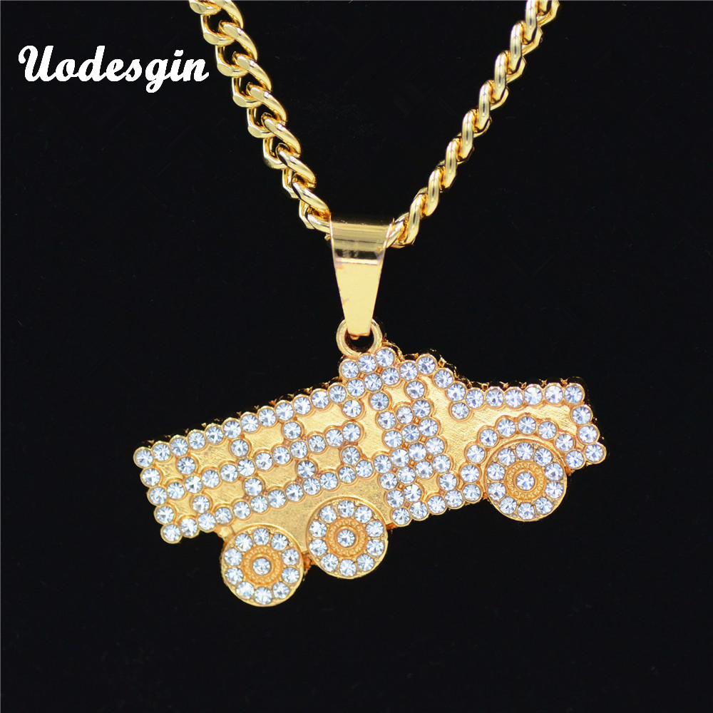 Uodesign Hiphop BRAND Gold  Crystal Truck Necklace&Pendant Hip Hop Jewelry Dance Charm Franco Men Chain Necklace