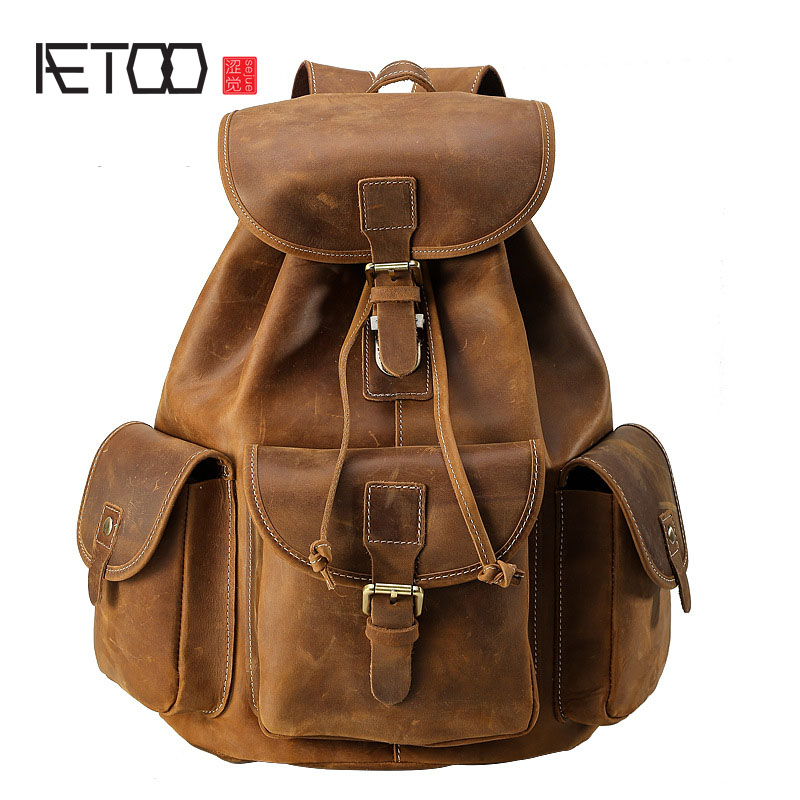 AETOO British retro backpack men crazy horse 100% genuine leather shoulder bag large capacity travel men aetoo new front cowhide retro leather shoulder bag men travel backpack europe and the united states crazy horse leather