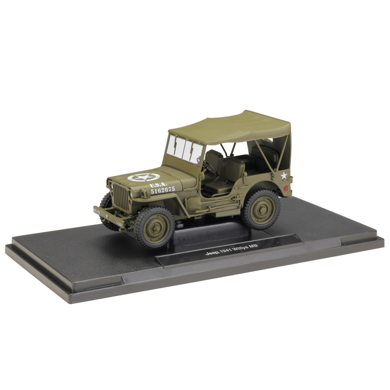 WELLY 1 18 Jeep 1941 Willys MB Soft Top Open Top Army Green Gray Diecast Model