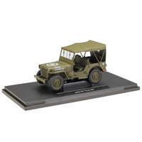 WELLY 1:18 Jeep 1941 Willys MB Soft Top Open Top Army Green Gray Diecast Model Car Toy Car