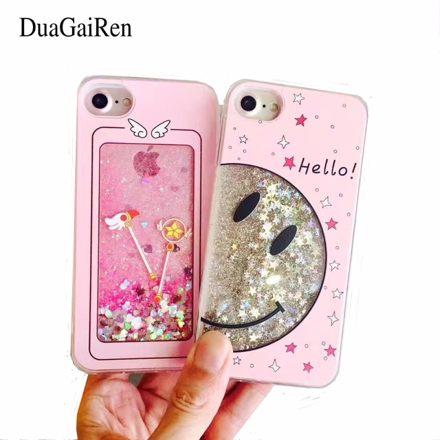 newest bdd1e ce2ce US $3.99 | Liquid Glitter Quicksand Sailor Moon Case For iphone 6 6S 7 Plus  Clear Smile Face Cell Phone Cases Back Cover Capa-in Fitted Cases from ...