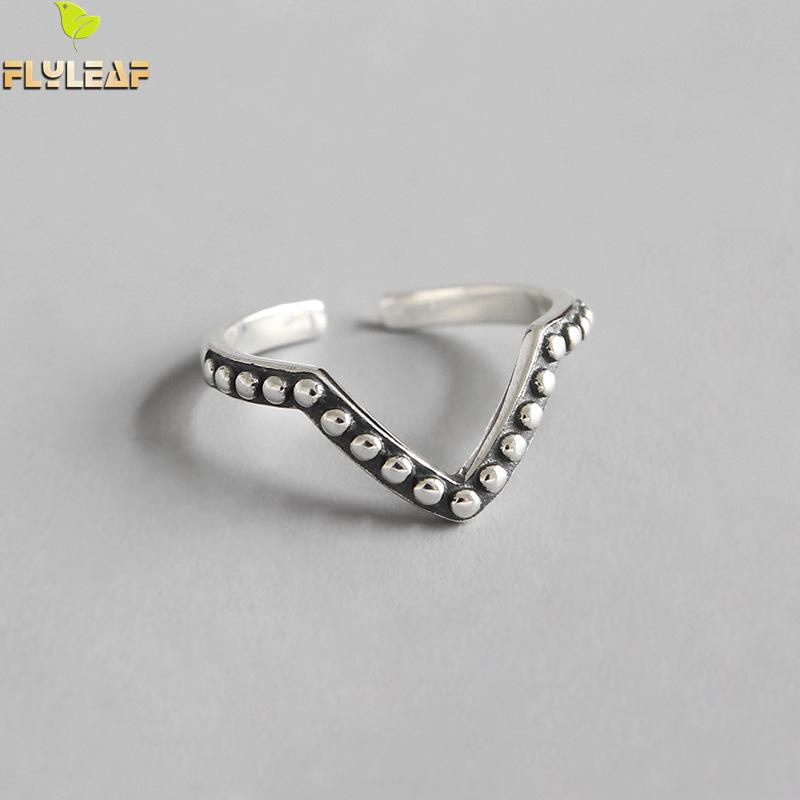 Flyleaf Retro 925 Sterling Silver Beads Letter V Open Rings For Women Personality Do The Old Student Girl Vintage Jewelry