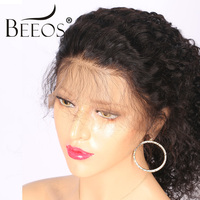 BEEOS 12 24 250 Density Peruvian Full Lace Wig Human Hair With Baby Hair Remy Kinky Curly Wig For Women Bleached Knots
