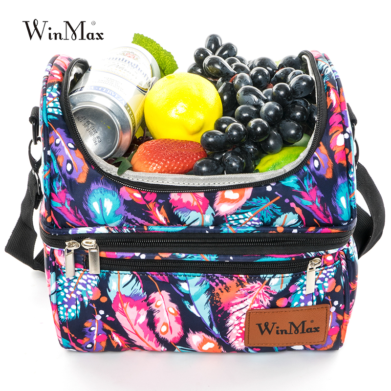 Double Decker Cooler Lunch Bags Insulated Print Waterproof Thermal Lunchbox Travel Food Picnic Bag for Women Men Bolsa Termica