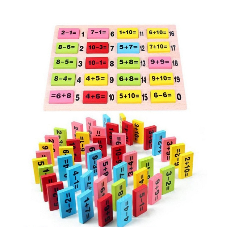 Montessori Educational Toy Wooden Math Toys For Children Domino 3-4-5-6-7-8 Years Old Game Funny Gifts Kids