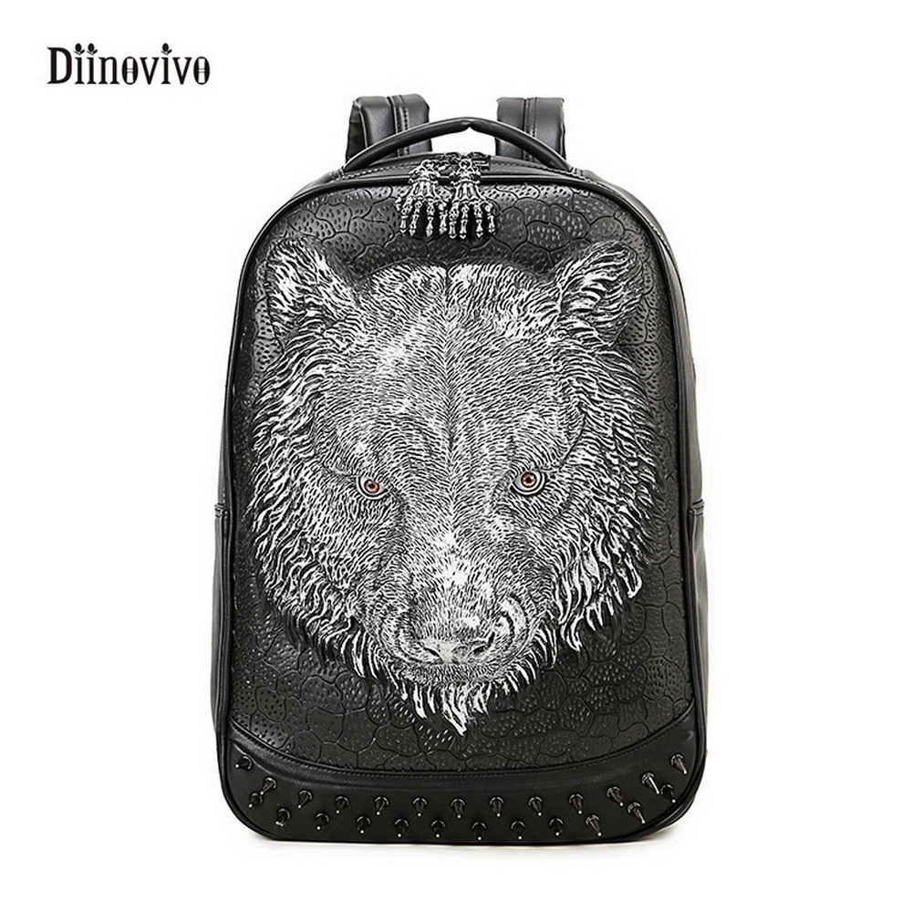 DIINOVIVO New Fashion Rivet  School Bags Street Fashion Teenager 3D Wolf Backpack Waterproof Large Capacity Travel Bag WHDV0125 grizzly new fashion laptop men backpack for teenager boys multifunction mochila waterproof school bags large capacity travel bag