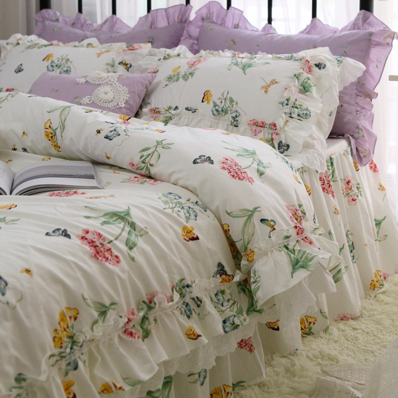 Hot Butterfly love flower print bedding set European bedding big ruffle lace bed set princess king