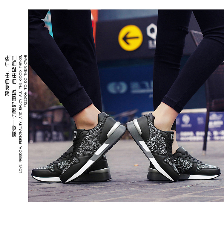2017 Spring Graffiti Valentine Shoes Women Flat Heel Lace Up Leather Casual Shoes Plush Size 44 Low Top Sport Outdoor Shoes ZD43 (61)
