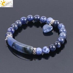 Image 4 - CSJA หินธรรมชาติ Sodalite สร้อยข้อมือผู้หญิงผู้ชายรักหัวใจสีฟ้าสีขาว Dot ลูกปัด Healing พุทธกำไลข้อมือ F109