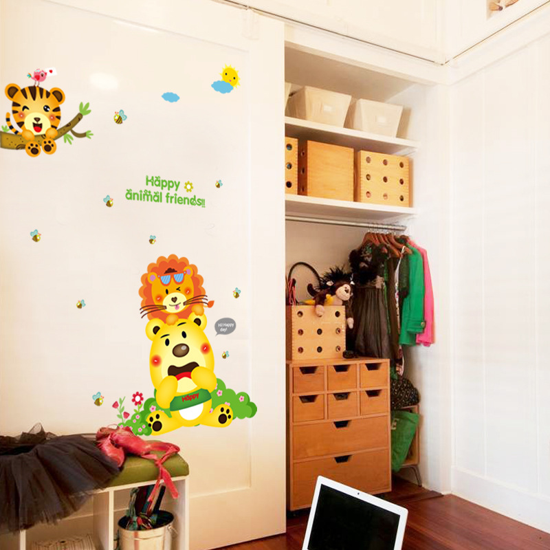 Cartoon animal bear wall stickers kindergarten wall stickers living room bedroom map decoration wall stickers SK9137