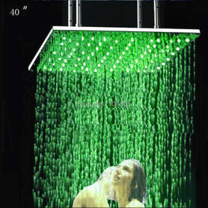 Shower-Head Changed Battery Led Rain Stainless-Steel Color Retail-40inch X15460 Without