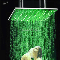 Retail 40 Inch Stainless Steel Rain Led Shower Head, Color Changed without Battery, X15460