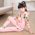 Hot Otoño Primavera Ropa Niños niñas Establece Niños ClothesPrinted Peonía flores Sudadera Con Capucha Ropa Casual Trajes 2 unidades set