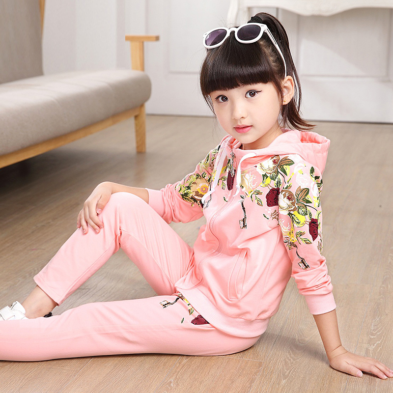 Hot Spring Autumn Children girls Clothing Sets Kids ClothesPrinted Peony flowers Hoodie Casual Clothes Suits 2