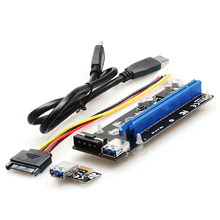PCI-E PCI Express X 1 to 16 X USB Adapter PCIe Riser Card 4PIN power cable with 60CM USB cable 6 Solid Capacitors for BTC Mining(China)