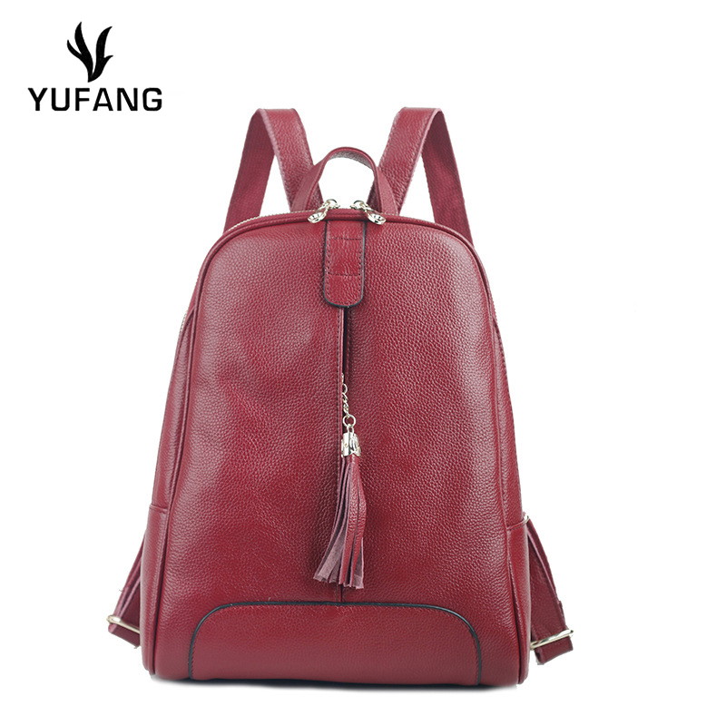 YUFANG Women Backpack Genuine Leather Infantry Pack Female Candy Color Girl Teenager School Bag Solid Color