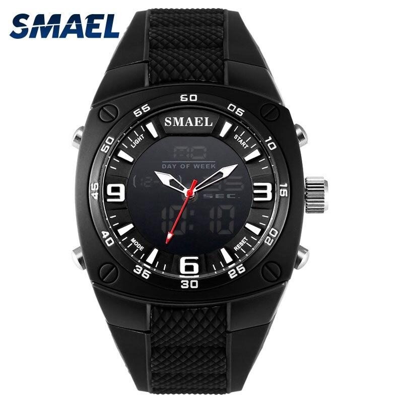 SMAEL Homme Sport Montre Résistance À L'eau Noir Horloge De Mode Casual Montre-Bracelet Électronique 1008 Mâle Horloge Alarme Numérique Montres De Luxe