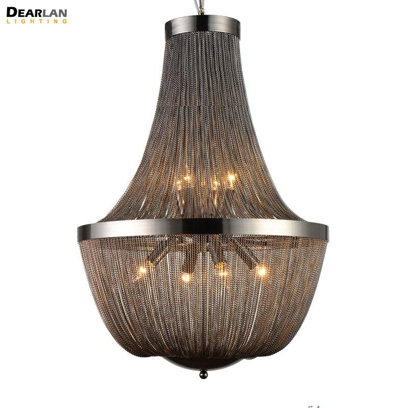 Post Modern French Chain Chandelier Light Fixture Empire Vintage Hanging Empire Suspension Lustre Lamp Light