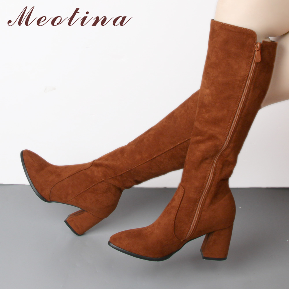 Meotina Long-Shoes Boots Zipper High-Heel-Boots Brown Pointed-Toe Knee Black Thick Big-Size