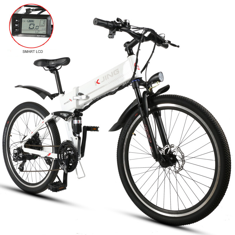 26 Inch fold electric mountain bike aluminum alloy lithium battery in the frame off-road riding fitness with LCD screen free shipping 48v 15ah battery pack lithium ion motor bike electric 48v scooters with 30a bms 2a charger