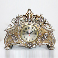 TUDA Free Shipping 15 Inch Vintage Style Large Table Clock Luxury Resin Table Clock Home Decoration Mute Quartz Table Clock