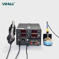 YIHUA 853D 5A 3 в 1 SMD DC ПИТАНИЕ фена паяльник переделка спайки Station110V В/220 В EU/US PLUG рабочая эффективность